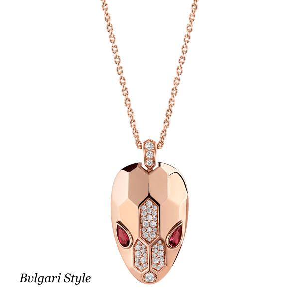 Подвеска Bvlgari Serpenti, розовое золото, бриллианты, рубины