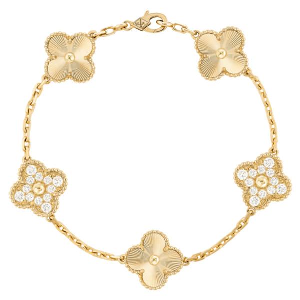 Браслет Van Cleef & Arpels Vintage Alhambra, желтое золото, бриллианты