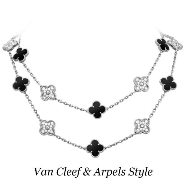Колье Van Cleef & Arpels Alhambra, белое золото, бриллианты, оникс