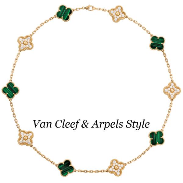 Колье Van Cleef & Arpels Alhambra, желтое золото, бриллианты, малахит