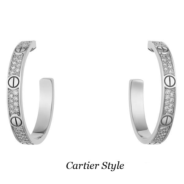 Серьги Cartier Love, белое золото, бриллианты
