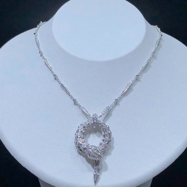 Колье Bvlgari Serpenti, белое золото, бриллианты