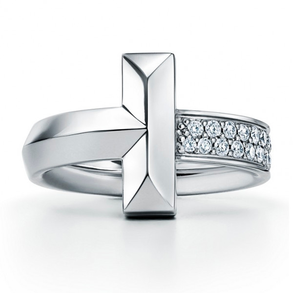Кольцо Tiffany & Co. Tiffany T T1, белое золото, бриллианты