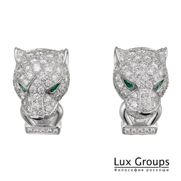 Серьги Panthere de Cartier, белое золото, бриллианты