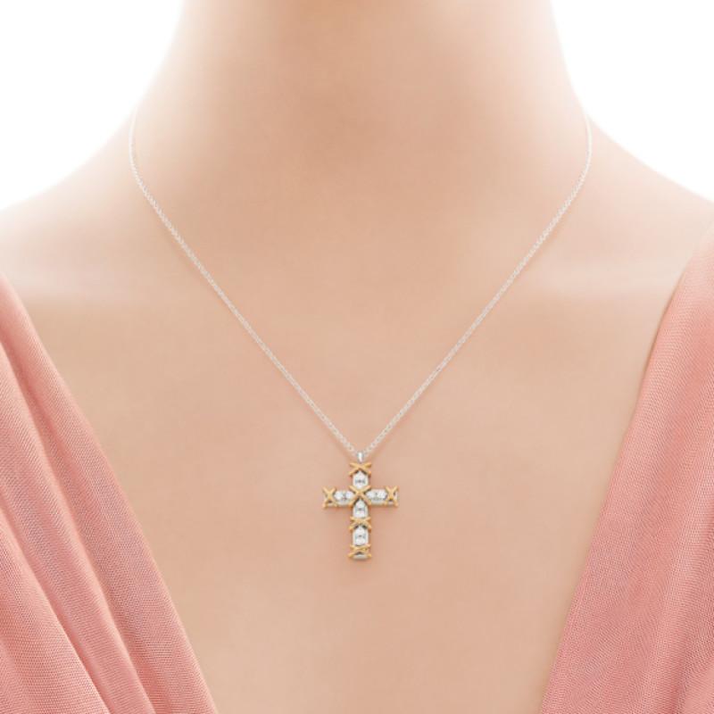 Подвеска-крестик Tiffany & Co. Schlumberger, золото, платина, бриллианты